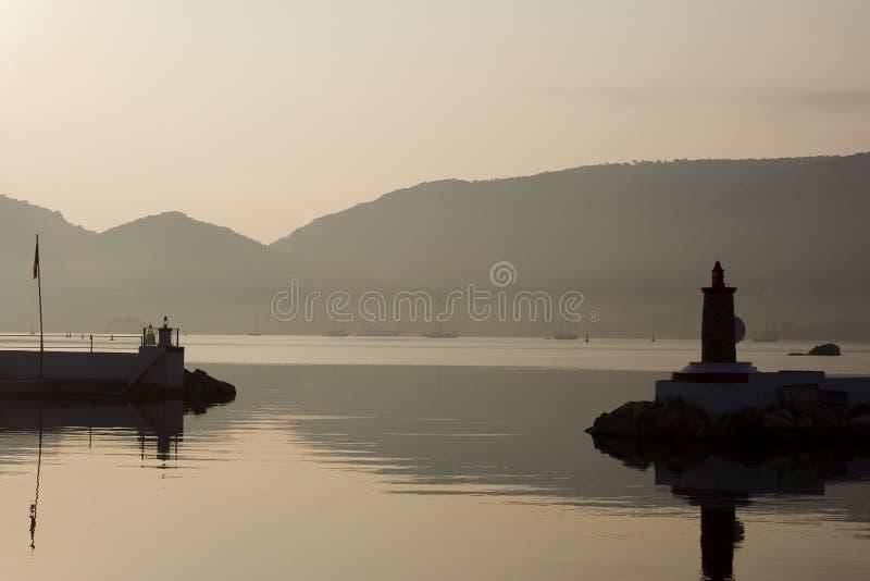 Sonnenaufgang im Porto vecchio stockfotografie