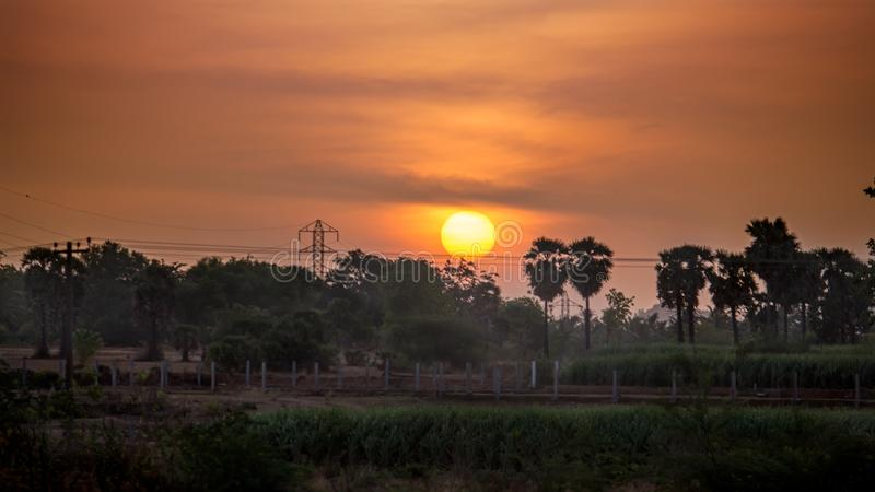 Sonnenaufgang im Tamil Nadu stockfotografie