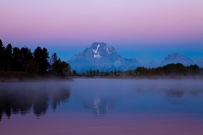 Sonnenaufgang oxbow Schlaufe am großartigen teton stockfotografie