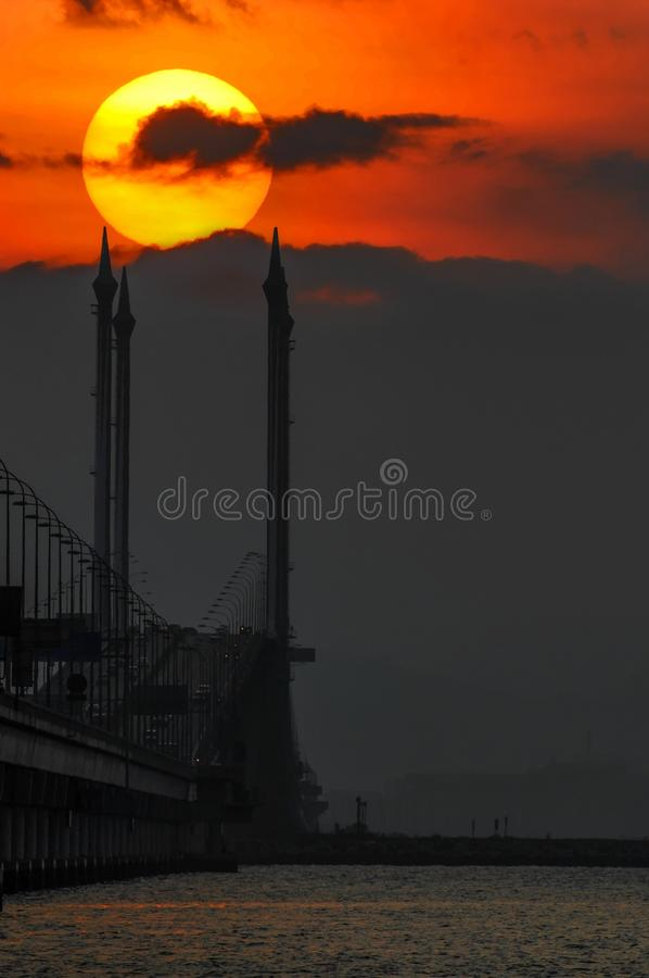Sonnenaufgang-Penang-Brücke stockfotos