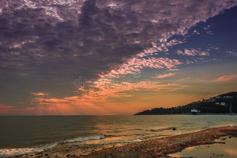 Sonnenaufgang Poros stockfoto