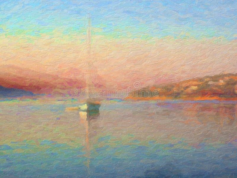 Sonnenaufgang, Segel-Boot in der Bucht, Ölgemälde-Art stockfoto