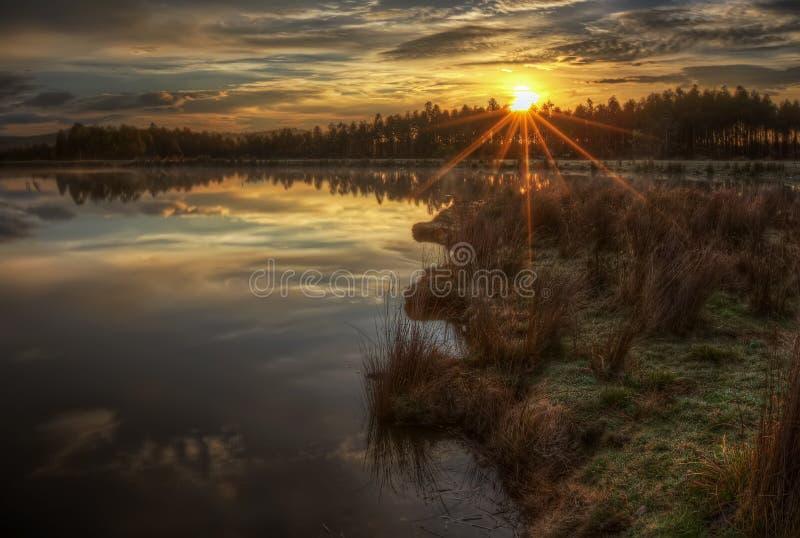 Sonnenaufgang-Sonnendurchbruch über Misty Lake lizenzfreie stockbilder