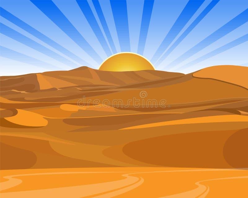 Sonnenaufgang (Sonnenuntergang) in der Wüste lizenzfreie abbildung