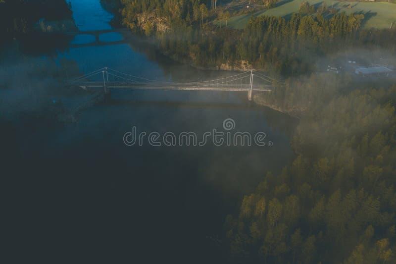 Sonnenaufgang, Wald und Frostnebel stockbilder