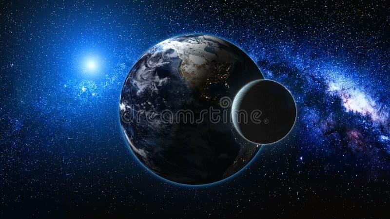 Sonnenaufgangansicht vom Raum auf Planeten-Erde und Mond stockfotografie