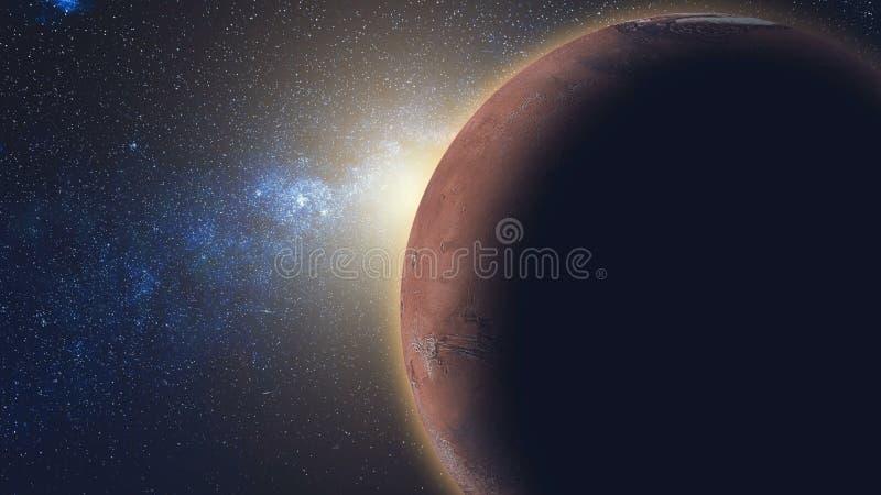 Sonnenaufgangansicht vom Raum: Mars-Rot-Planet stockfoto