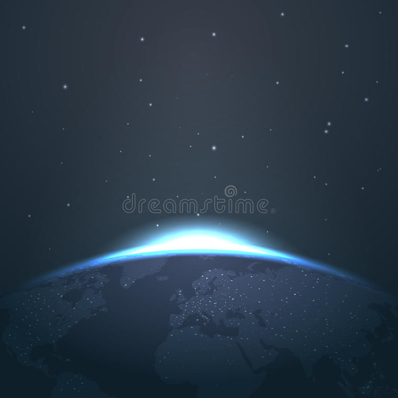 Sonnenaufganghorizont über Erde vom Raum mit Sternen und Lichter vector Illustration lizenzfreie abbildung