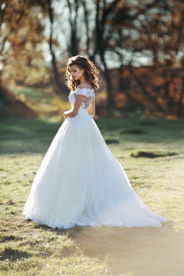 Sonnenbeschiene herrliche Brunettebraut im weißen Kleid, das in Sonnenuntergang f aufwirft stockfotografie