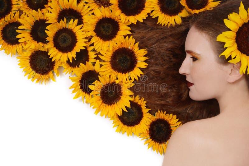 Sonnenblumefrisur stockfotos