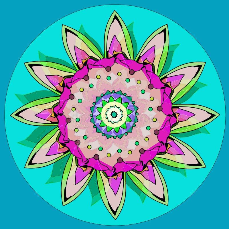 SONNENBLUMEN-MANDALA EINFACHER HELLBLAUER HINTERGRUND ZENTRALER KREIS IM TÜRKIS BLUME IN GRÜNEM, SCHWARZ, PURPURROT, ROSA, BEIGE vektor abbildung