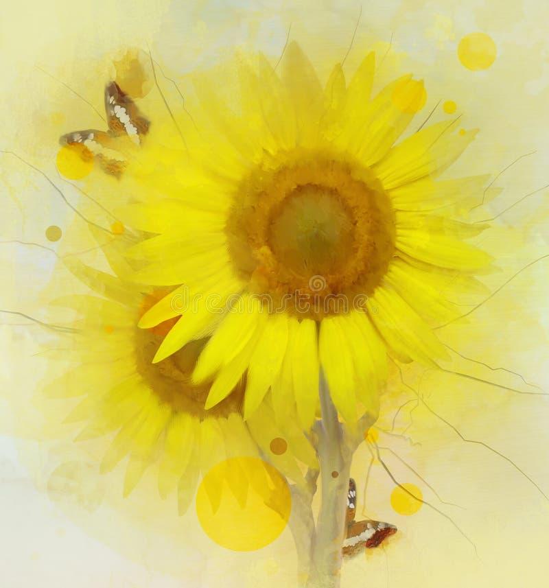 Sonnenblumen mit Schmetterlingen in der Aquarellart stock abbildung