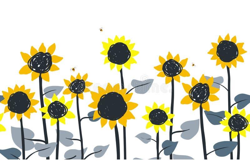 Sonnenblumen Nahtloses Muster des Vektors horizontale Grenz Handgezogene Sonnenblumen auf einem weißen Hintergrund vektor abbildung
