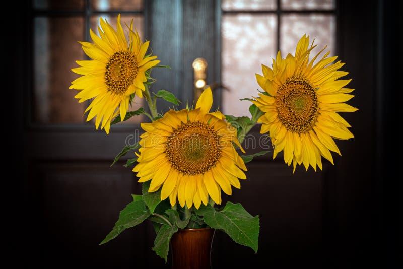 Sonnenblumenblumen in einem keramischen Vase lizenzfreie stockbilder