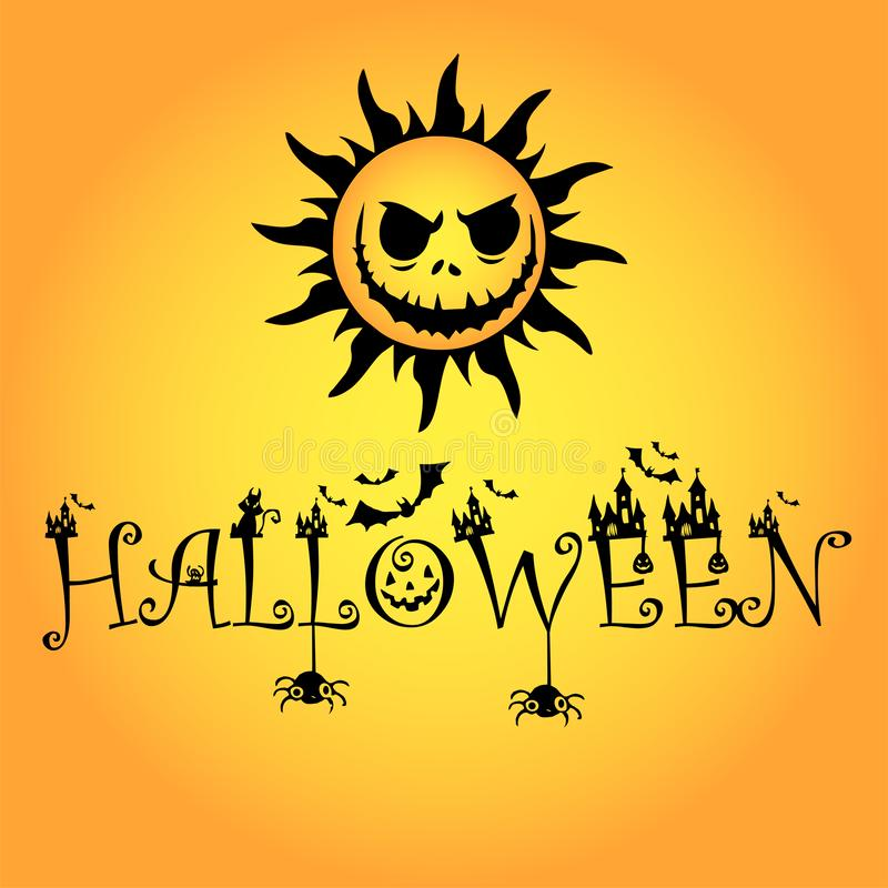 1 Sonnenblumenhalloween-Logo stockfotos