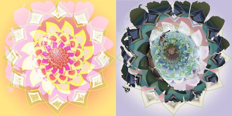 Sonnenblumenmandalacollage, Weinlesebild, in Gelbem, Rosa, purpurrot, grün Flacher Hintergrund lizenzfreie stockfotos