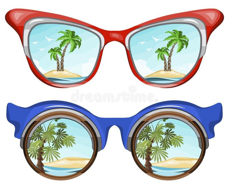 Sonnenbrille, die tropische Landschaft und Palme auf sandiger Insel reflektiert stock abbildung
