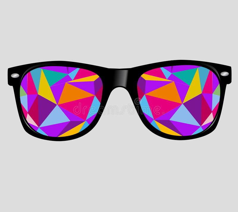 Sonnenbrille mit abstrakten geometrischen Dreiecken. vect lizenzfreie abbildung