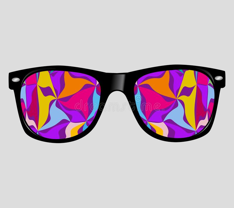 Sonnenbrille mit abstrakter Vektor-Illustrations-Hintergrund-Hippie-Art stock abbildung