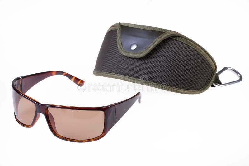 Sonnenbrille mit Fall lizenzfreie stockbilder