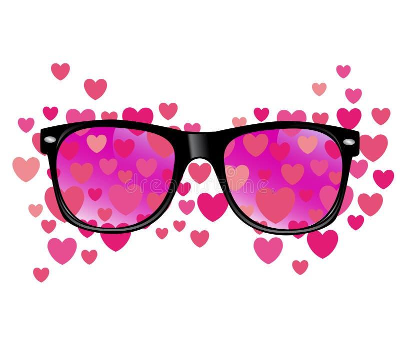 Sonnenbrille und Herzvektorzusammenfassungsillustration stock abbildung