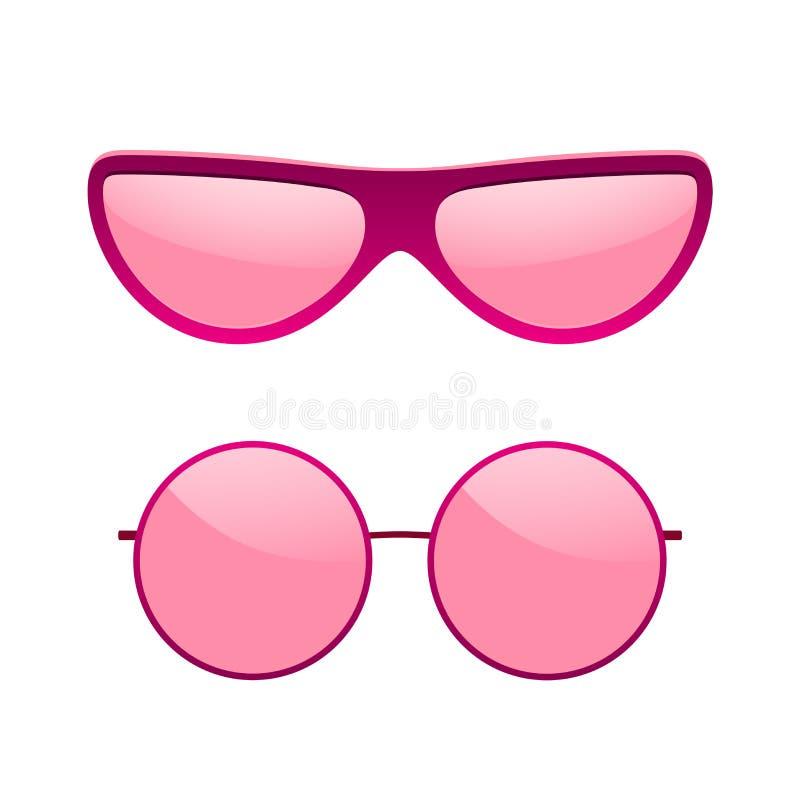 Sonnenbrilleikonen eingestellt Rosa Sonnenbrillen lokalisierten weißen Hintergrund Grafische Art der Moderosa-Weinlese Weibliches lizenzfreie abbildung