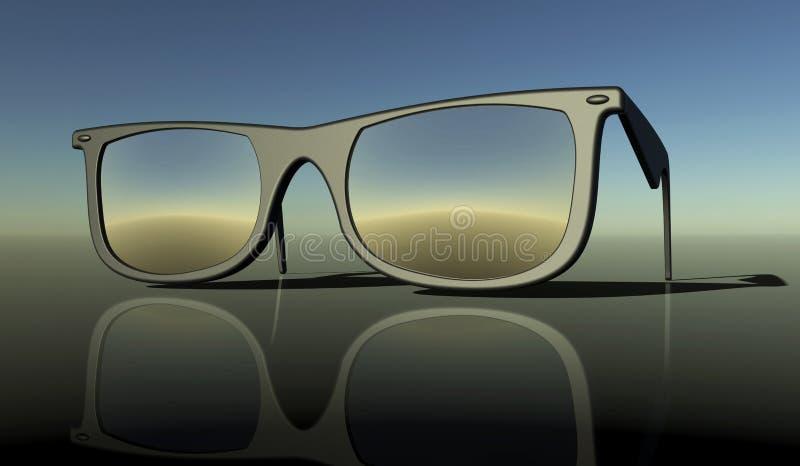 Sonnenbrillen auf einem hinteren Boden lizenzfreie abbildung