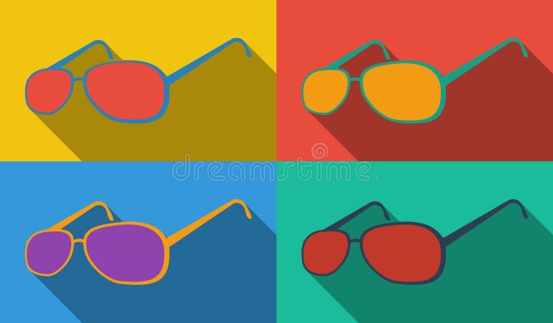 Sonnenbrillepop-art stockbild
