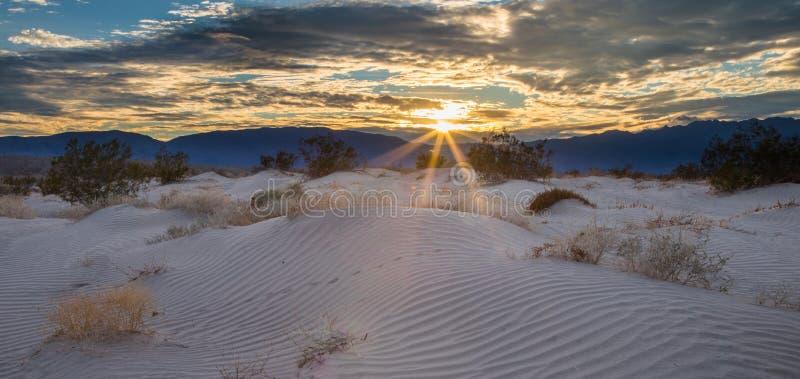 Sonnendurchbruch über Sanddünen stockfotos