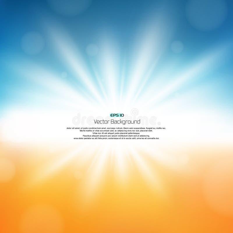 Sonnendurchbruch auf Naturzusammenfassungshintergrund mit Kopienraum, Illustrationsvektor lizenzfreie abbildung