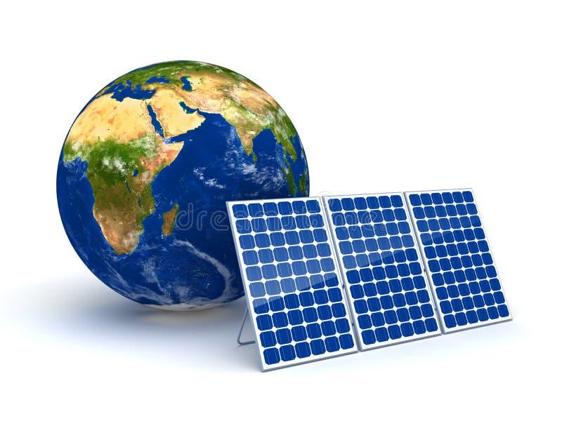 Sonnenenergie für Planetenerde vektor abbildung