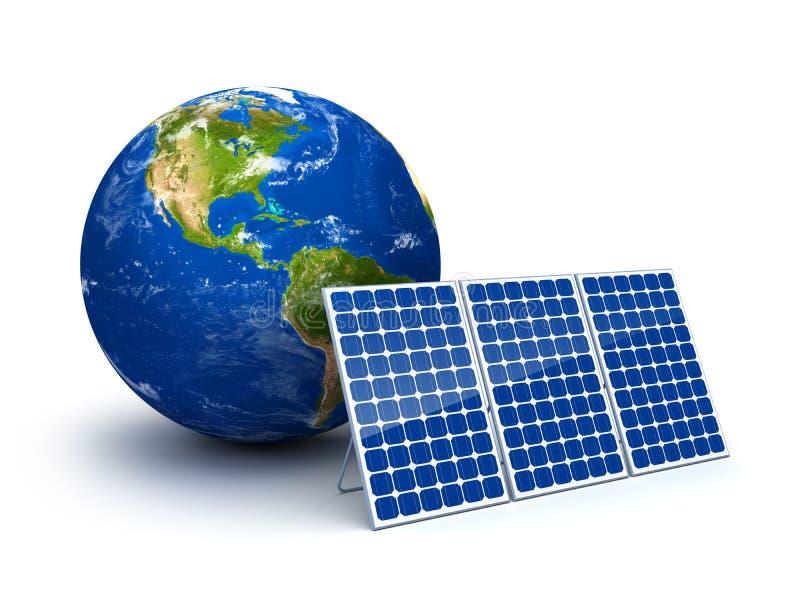 Sonnenenergie für Planetenerde lizenzfreie abbildung