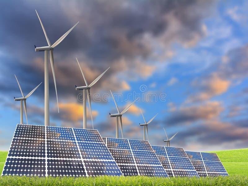 Sonnenenergiepanels und Windturbine stockfotografie