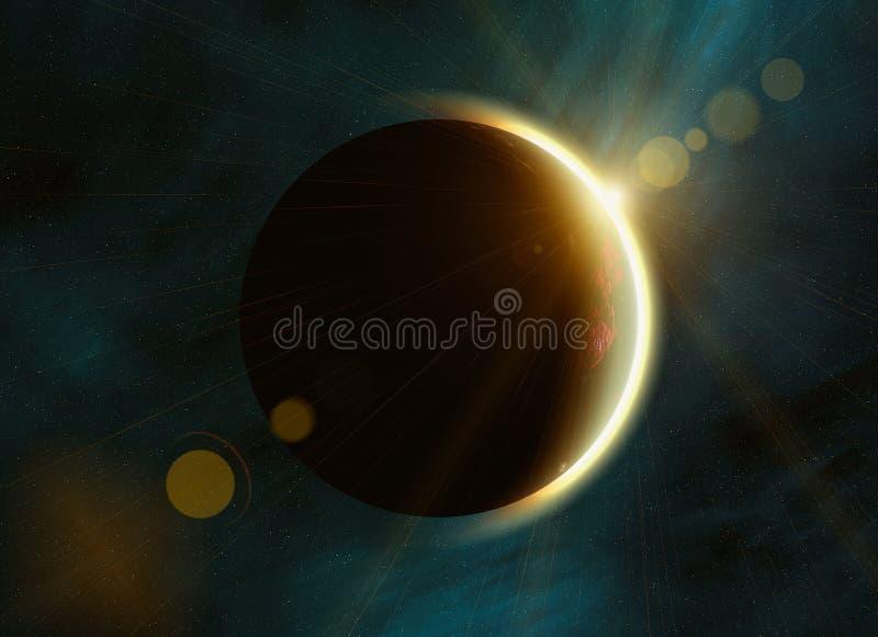 Sonnenfinsternis auf Raum spielt Hintergründe die Hauptrolle lizenzfreie abbildung