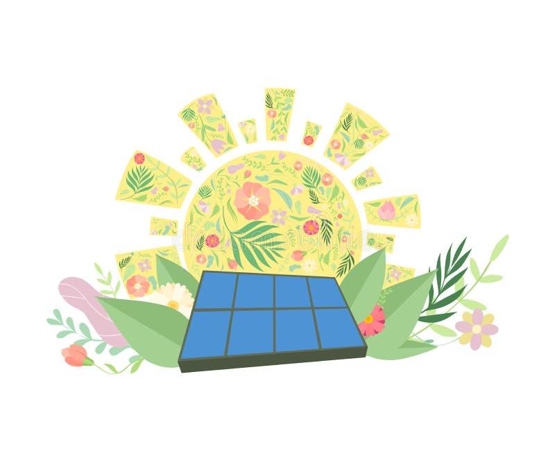 Sonnenkollektor, Alternative und erneuerbare Energie, Umweltschutz, Ökologie-Konzept-Vektor-Illustration stock abbildung