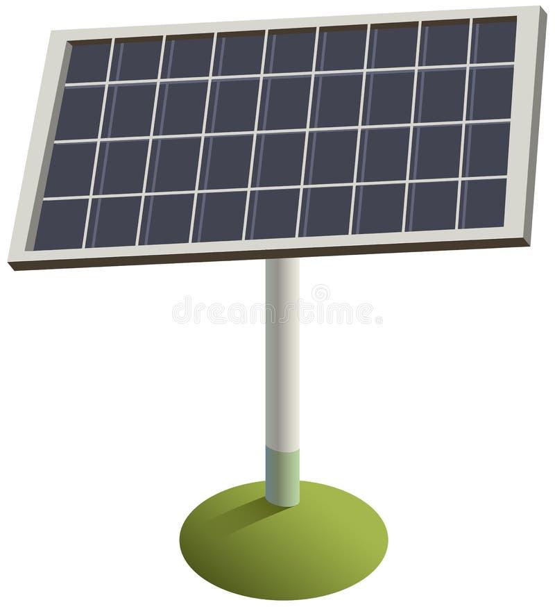 Sonnenkollektor auf Gras Grüner auswechselbarer umweltfreundlicher Strom lizenzfreie abbildung
