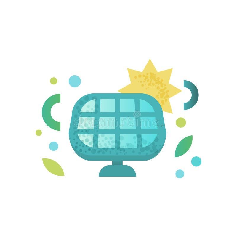 Sonnenkollektor, Energiegewinnung von der Sonne, Alternative und erneuerbare Energie vector Illustration auf einem Weiß stock abbildung