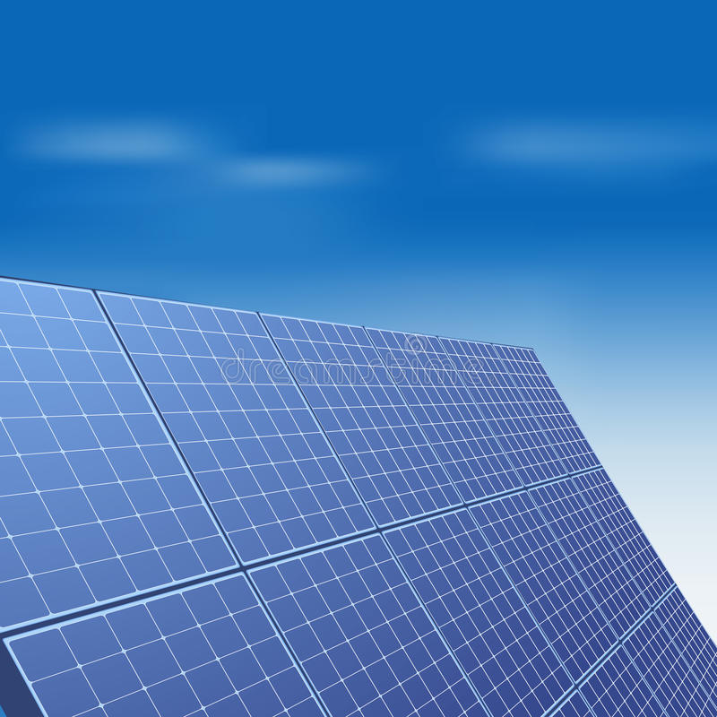 Sonnenkollektor gegen blauen Himmel lizenzfreie abbildung
