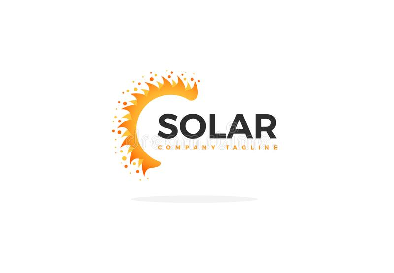 Sonnenkollektor Logo Vector In Shape Of ein halben Sun stock abbildung