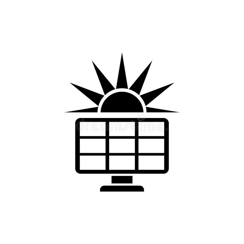 Sonnenkollektor mit flacher Vektor-Ikone Sun stock abbildung