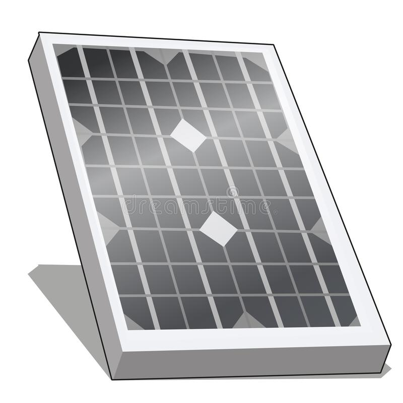 Sonnenkollektor oder photo-voltaisches der alternativen Energie lokalisiert auf weißem Hintergrund Vektorkarikatur-Nahaufnahmeill lizenzfreie abbildung