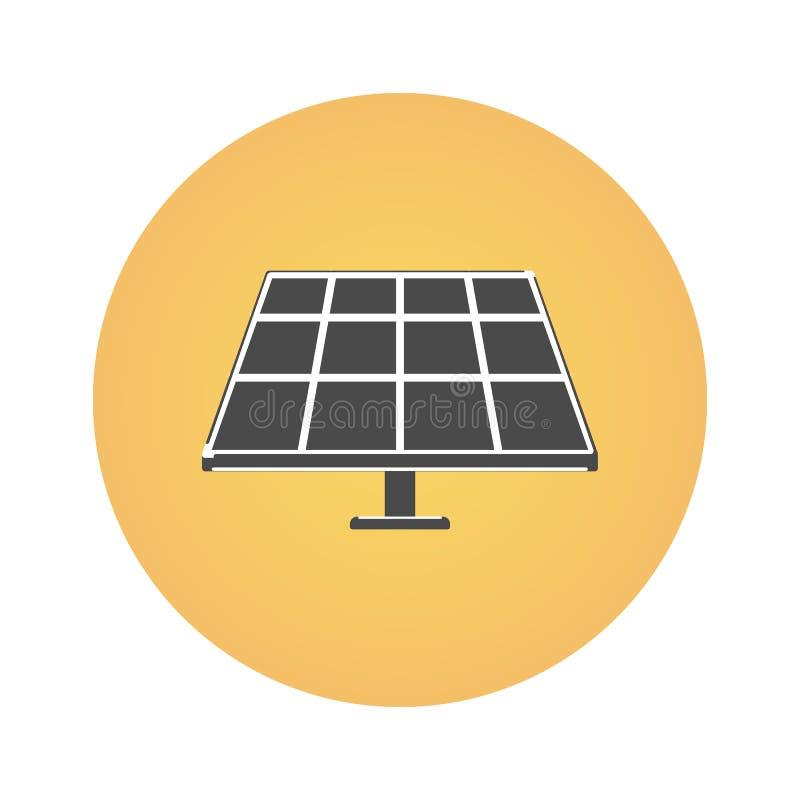 Sonnenkollektor und Sonne auf einem weißen Hintergrund Alternative Energie Ikone in der flachen Art lizenzfreie abbildung