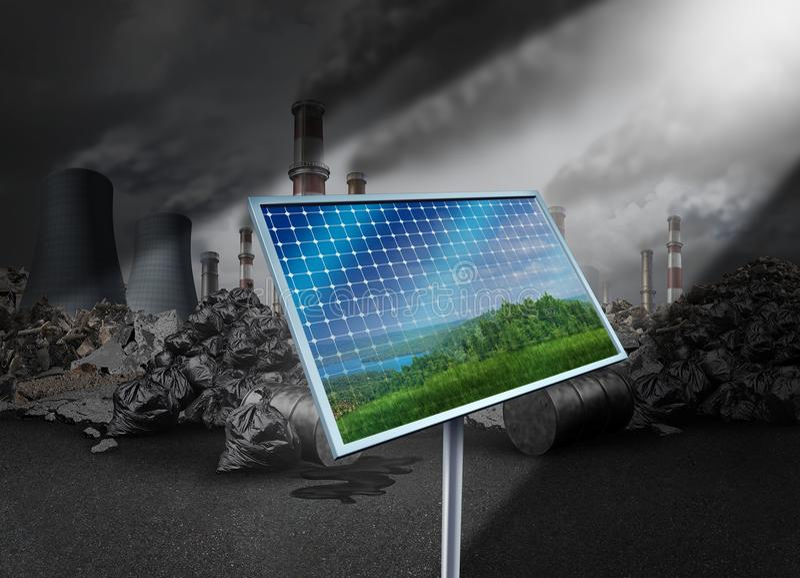 Sonnenkollektor und Verschmutzung lizenzfreie abbildung