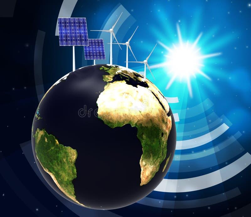 Sonnenkollektor zeigt alternative Energie an und globalisiert lizenzfreie abbildung