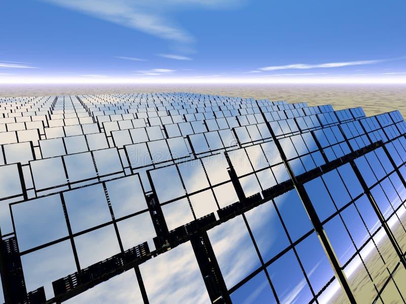 Sonnenkollektorbauernhof in der Wüste vektor abbildung