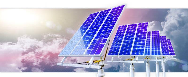 Sonnenkollektoren auf einem Dach lizenzfreie abbildung