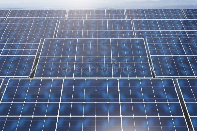 Sonnenkollektoren auf Himmelhintergrund stock abbildung