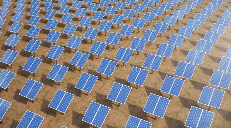 Sonnenkollektoren der Illustration 3D Alternative Energie Konzept der erneuerbarer Energie ?kologische, saubere Energie Sonnenkol stockfoto