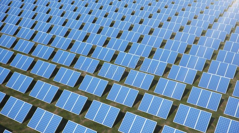 Sonnenkollektoren der Illustration 3D Alternative Energie Konzept der erneuerbarer Energie ?kologische, saubere Energie Sonnenkol stockfotografie