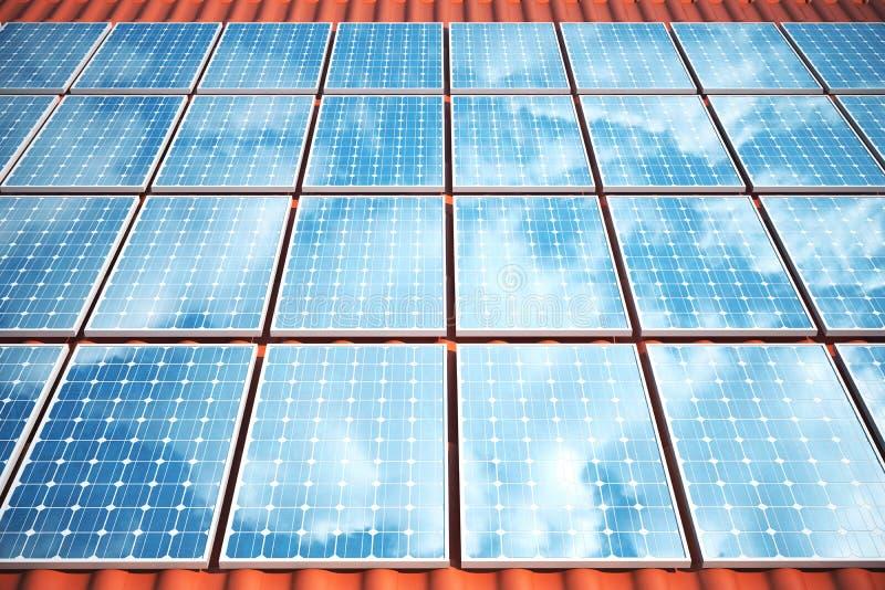 Sonnenkollektoren der Illustration 3D auf einem roten Dach, das den wolkenlosen blauen Himmel reflektiert Energie und Strom Alter stock abbildung